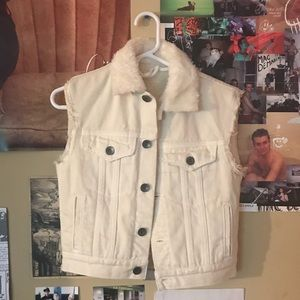 Helmet Lang faux fur shrunken denim vest